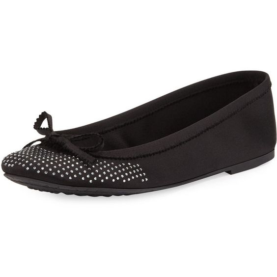 Pedro Garcia Alicia Crystal Ballerina Flat (€490) ❤ liked on Polyvore featuring shoes, flats, black, black round toe flats, black shoes, ballet pumps, bow ballet flats and black skimmer