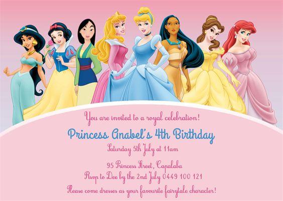 Personalised kids girls disney princess birthday party invitations invites