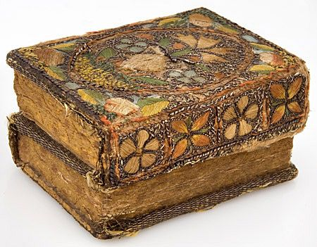 17th century embroidered book cover.