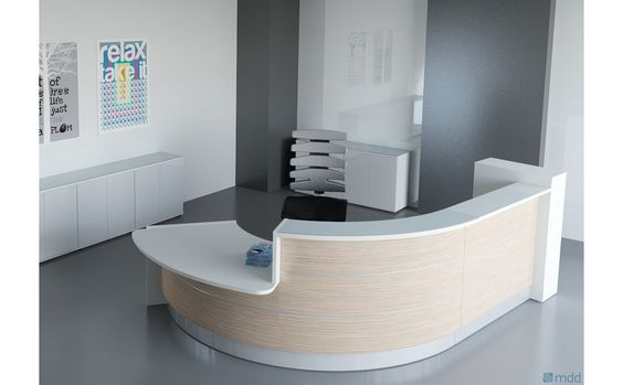 Valde Countertop Curved Reception Desk High Gloss White