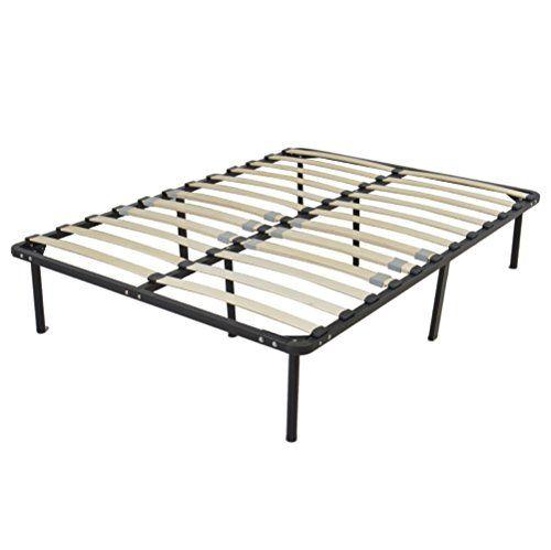 Full Size Metal Bed Frame Wood Slats 8 Legs Bedroom Bed Furniture