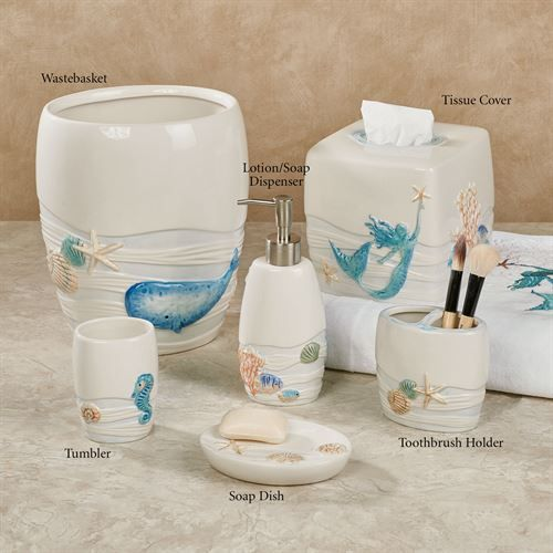Sea Splash Ocean Themed Bath Accessories Bathroom Decor Accessories Modern Master Bathroom Mermaid Bathroom