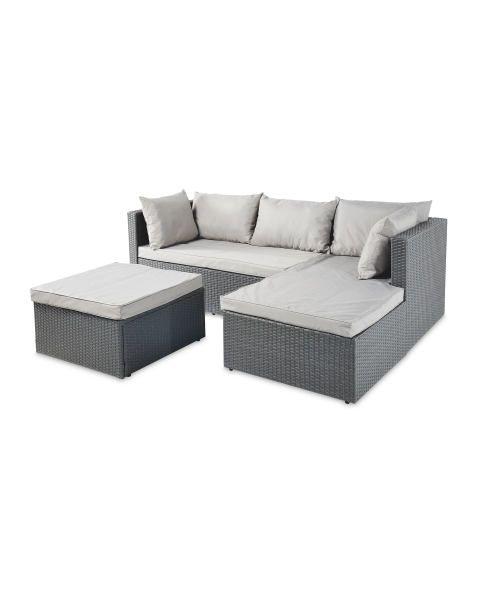 Anthracite Rattan Effect Corner Sofa