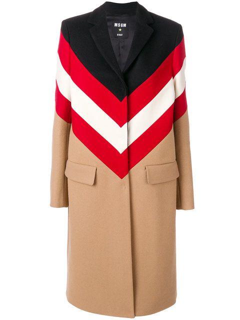 MSGM пальто к контрастными полосками