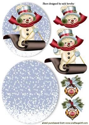 Snowman on a snowboard nearly midnight rocker card on Craftsuprint - Add To Basket!