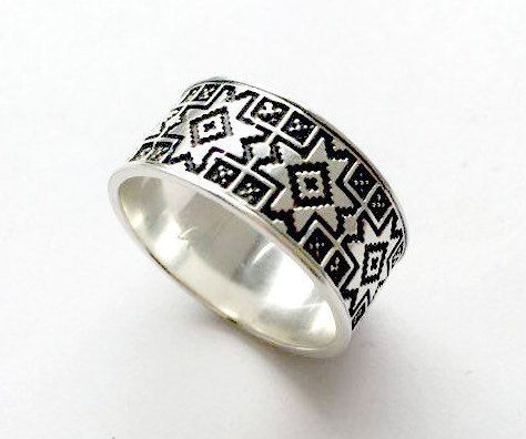 Great mens wedding band wide wedding band silver ring men wedding ring band slavic ring engagement ring men pattern ring men Three Snails Pinterest