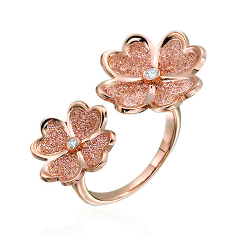 Floating Flower rings in 18k pink and yellow gold, each with 0.05 ct. t.w. diamonds; $2,000 each