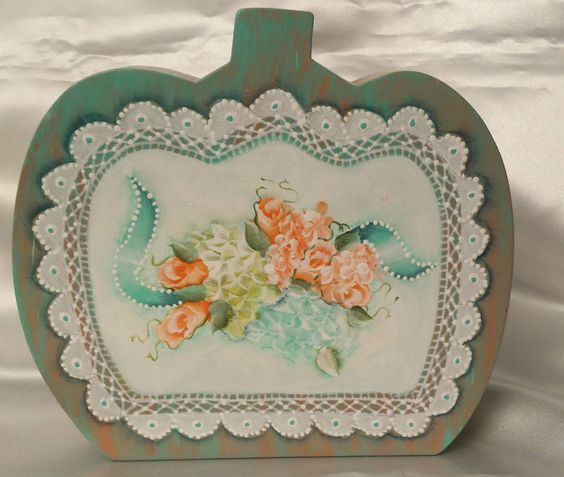 Hand Painted Pumpkin Cottage Chic Roses Hydrangea Shabby Lace HP Wood