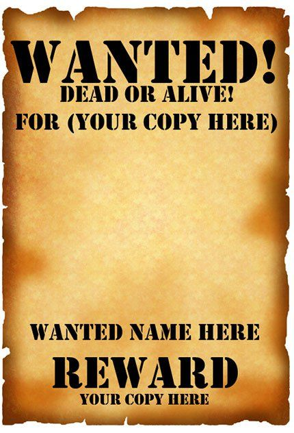 Old West Wanted Posters Printable   Google Search Miniature   Most Wanted  Poster Templates  Most Wanted Sign Template