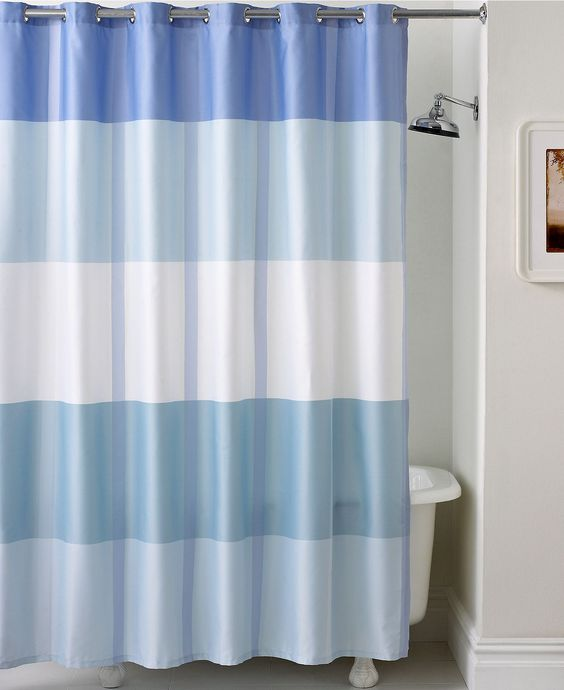 Martha stewart collection encore stripe shower curtain for Bathroom decor collections