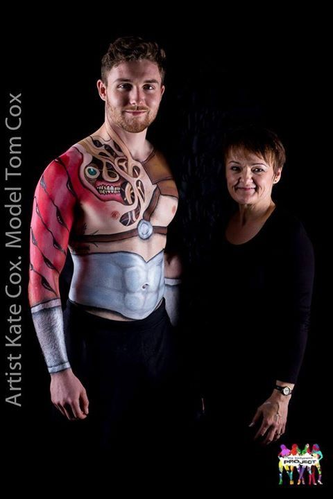 carved skin warrior Model Tom Cox, Artist Kate Cox (Funky Monkey Face Painting & Body Art) for North West Body Paint Project.