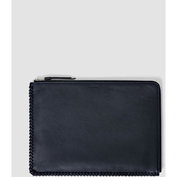 AllSaints Fleur De Lis Pouch Large Pouch (£68) ❤ liked on Polyvore featuring bags, handbags, clutches, midnight blue, fleur de lis purse, pouch purse, allsaints, pouch handbag and fleur de lis handbags