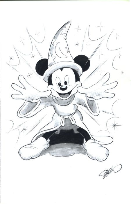 Garrido, Sergio - Original Drawing - Mickey Mouse The Sorcerer's Apprentice - Catawiki