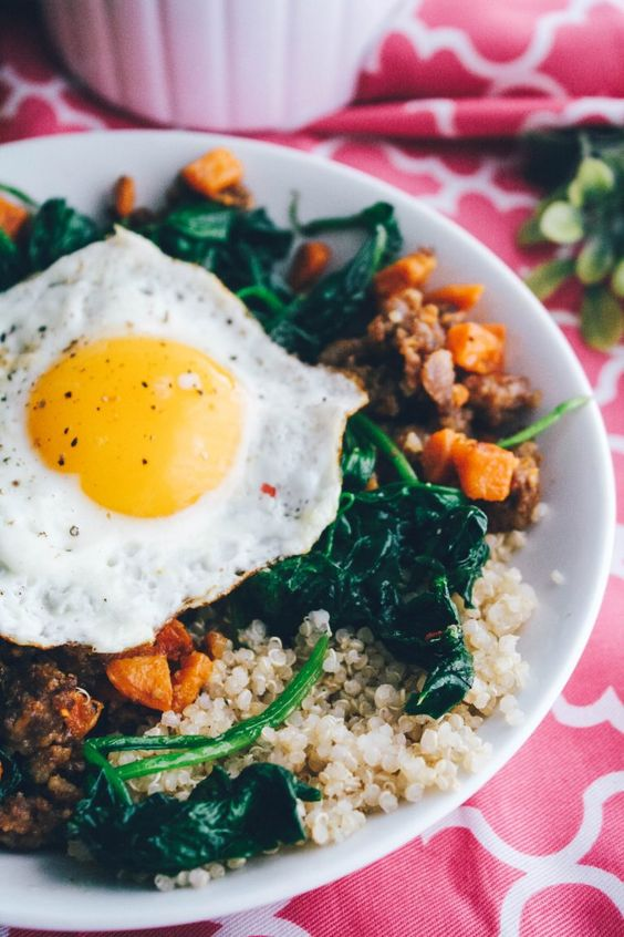 Sausage, Sweet Potato & Spinach Quinoa Bowls with Egg