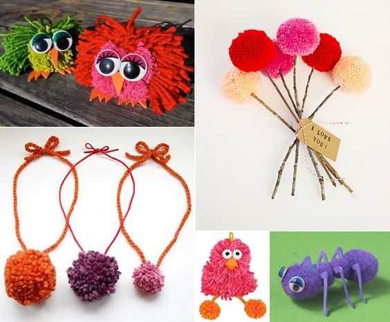 For the love of pom poms crafts for kids mums for Cute pom pom crafts