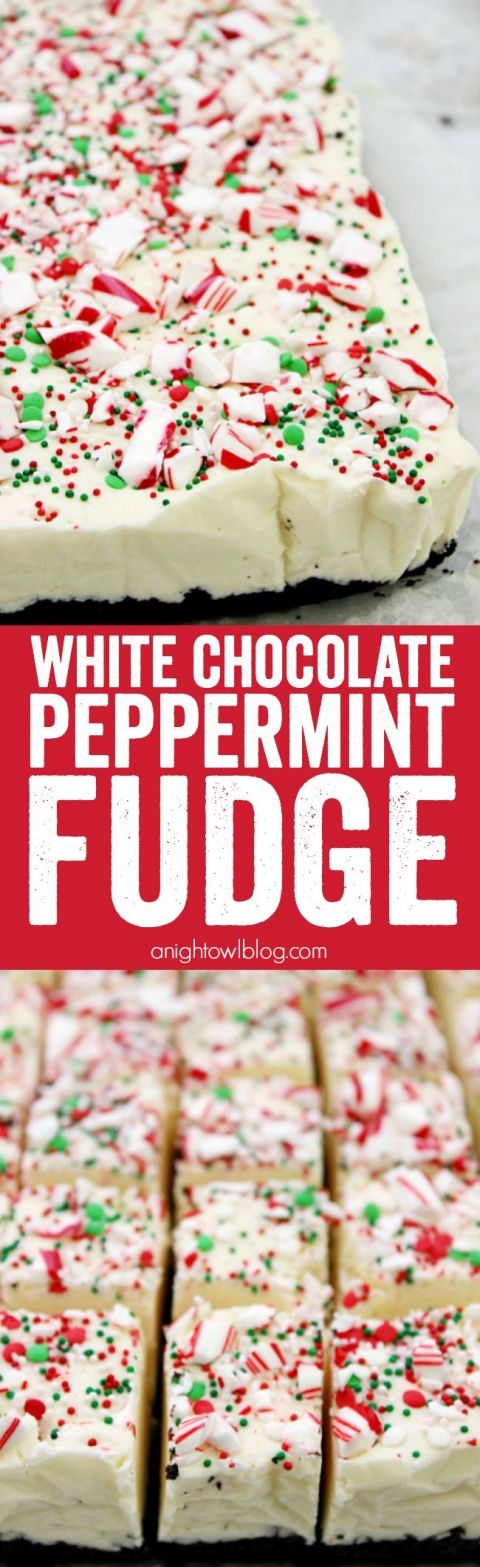 This White Chocolate Peppermint Fudge is a decadent, but easy, fudge recipe perfect for the holiday season. It also makes a great gift idea!: