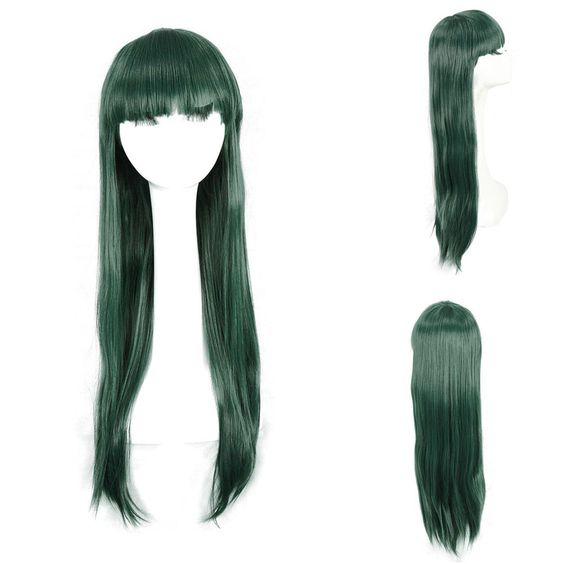 New Long Straight Women Hair Wig Cosplay Party Full Wigs Deep Green