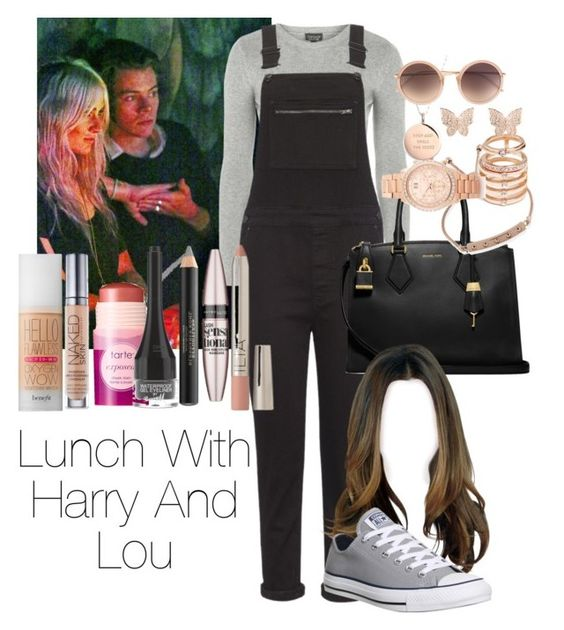 """Lunch With Harry Styles And Lou Teasdale"" by jen-21-a ❤ liked on Polyvore featuring Topshop, Whistles, Michael Kors, Converse, GUESS, Kate Spade, Linda Farrow, Benefit, Burberry and tarte"