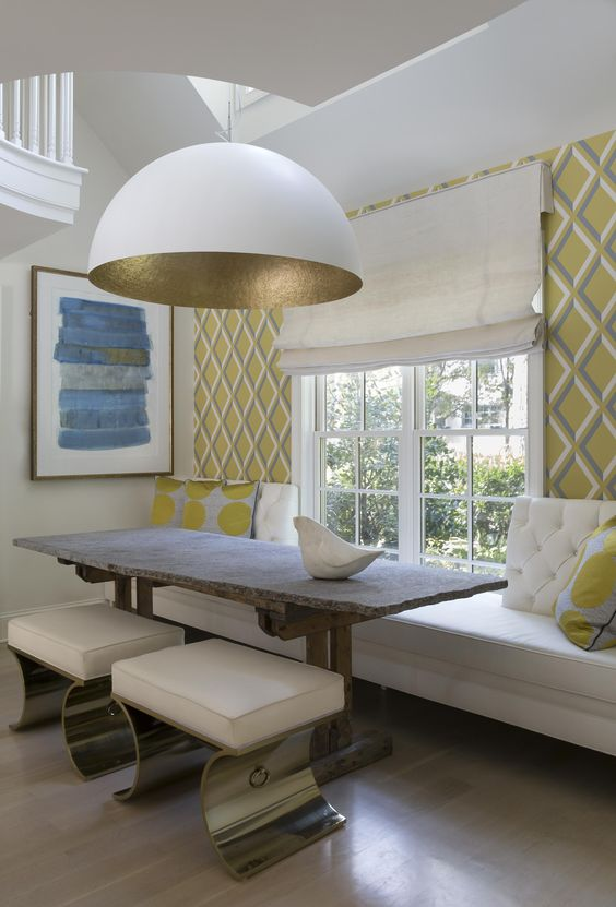 Leslie Hayes Interiors. Dome light, banquette, live-edge table