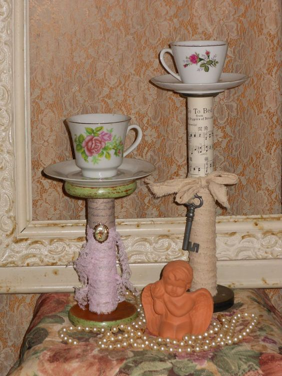 Vintage Textile Bobbin Spool Candle Holder Rose by PinkCherubMoon, $27.00...or could make it yourself