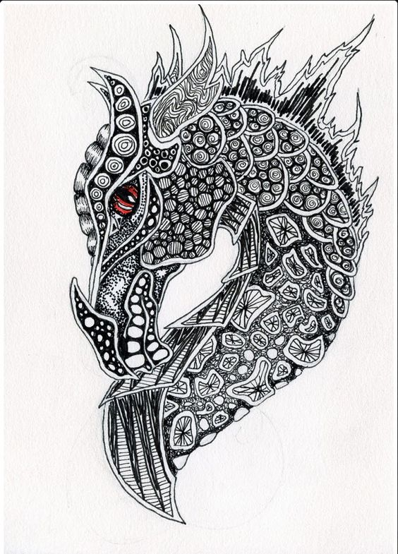 Zentangle Dragon dragon tattoos tattoo Painting