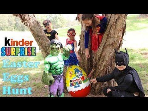 Super Heroes Easter Kinder Surprise Maxi Egg Hunt With Batman Hulk Super...