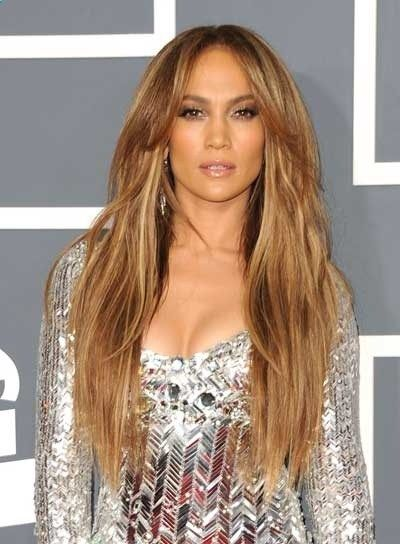 Jennifer Lopez Long, Tousled, Sexy, Blonde Hairstyle .