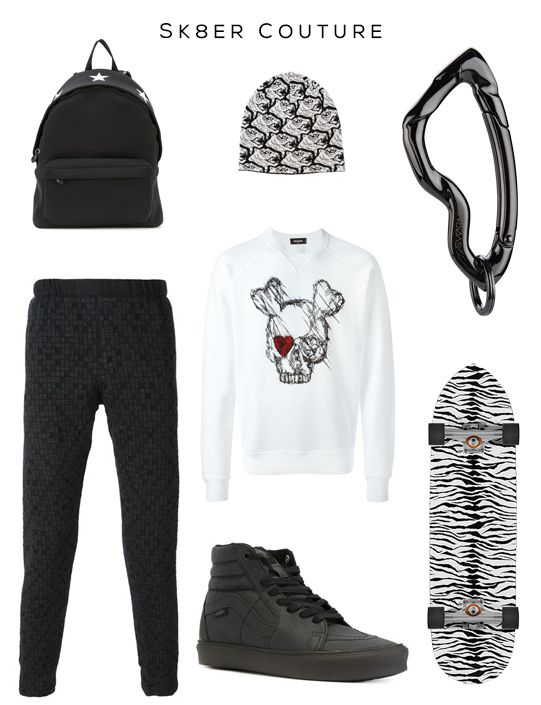 SK8ER Couture Clockwise: Backpack by Givenchy, Beanie by KENZO, Arcus carabiner by SVORN, Skateboard by Saint Laurent, Skater Sneakers by VANS,  Sweatshirt by DSQUARED2, Track pants by Stephan Schneider