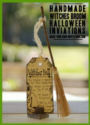 Make these witches broom Halloween invitations for that extra special party this year!