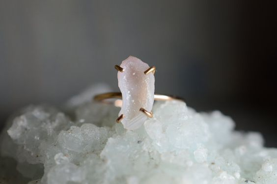 White Druzy Geode Ring. Gold Filled Miniature by happylittlegems