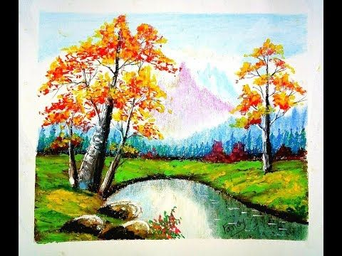 A Beautiful Landscape Scenery Drawing With Oil Pastel Youtube Oil Pastel Landscape Oil Pastel Drawings Beautiful Landscape Paintings