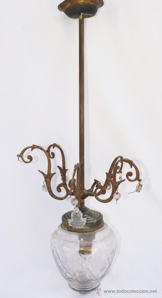 Lampara antigua modernista en bronce laton cristal - Lamparas cristal antiguas ...