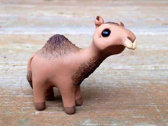 Camel: Handmade miniature polymer clay animal by AnimalitoClay