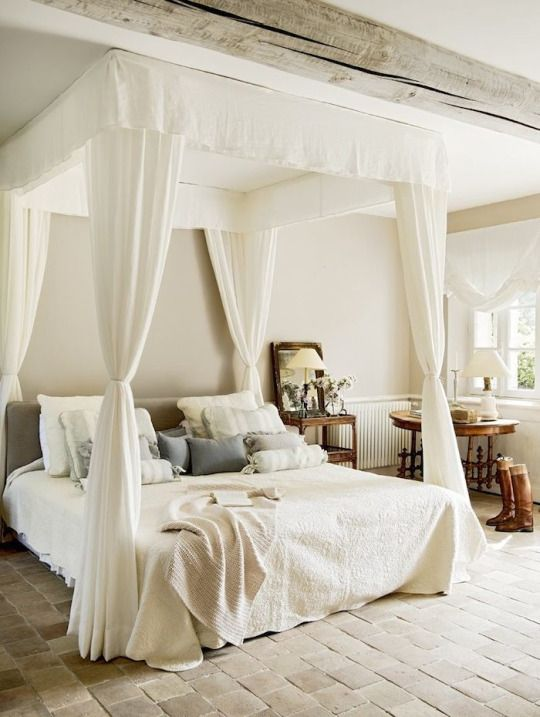 This is such a beautiful room  I think a bedroom like this in my  Farmhouse Chic Dream Home would be perfect    Pinterest. Fabulous bed  Amazing Brick Floor  This is such a beautiful room