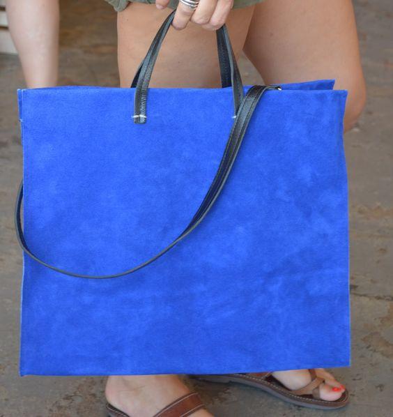 Blue Suede Tote by Claire Vivier #Handbag #Tote #Suede #Claire_Vivier