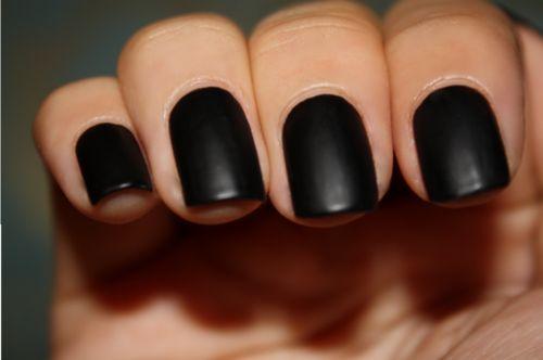 Matte black nails.