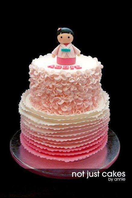 Pink Ruffle Themed Cake for abbie Cake by NotJustCakesByAnnie