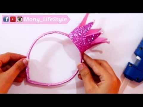 طريقة عمل طوق للشعر على شكل تاج الاميرات Youtube Diy Headband Kids Birthday Party Bows