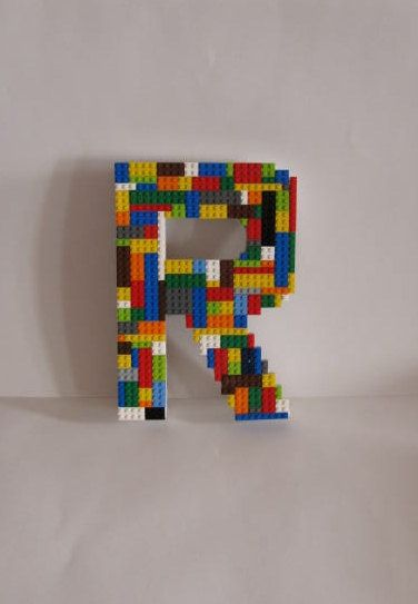 fun lego monogram letter for boy or girl 39 s wall decor. Black Bedroom Furniture Sets. Home Design Ideas