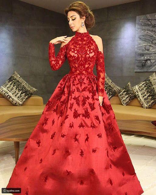 فساتين سواريه منفوشة للنجمات العرب استوحي منها افكار Lace Evening Dresses Evening Dresses Long Formal Gowns