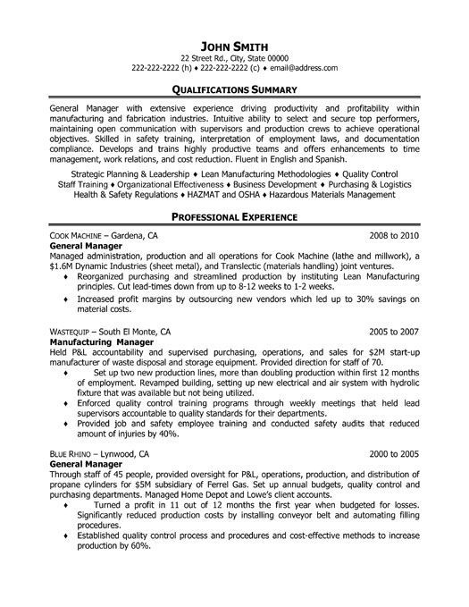 General Operations Manager Resume Template Want It Download It Manager Resume Engineering Resume Templates Good Resume Examples