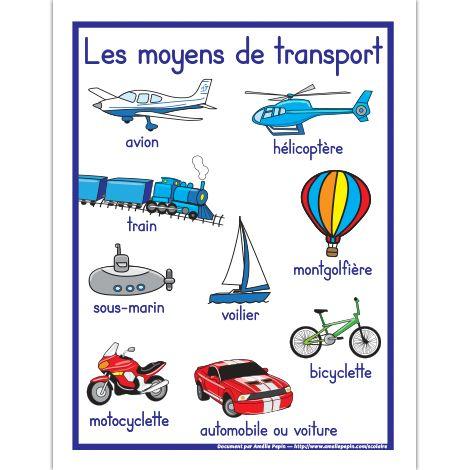 Affiche, les moyens de transport