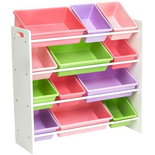 Amazonbasics Kids Toy Storage Organizer Bins White Pastel Kid Toy Storage Toy Storage Boxes Kids Storage Shelves