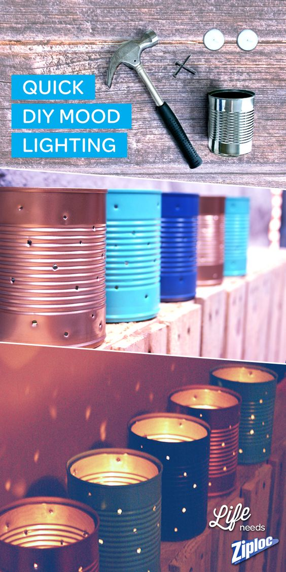 Make cute and easy up-cycled DIY mood lighting from old cans! Great craft inspiration for summer parties and BBQs! After poking holes in the cans, paint them to match patio furniture! Totes chic.                                                                                                                                                      More: