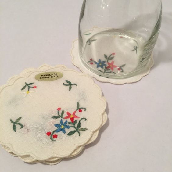 Set of 8 Handmade Vintage Floral Linen Coasters by MyVintagePoint