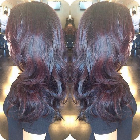 Balayaged her dark brown base color with a GORGEOUS reddd brown tone