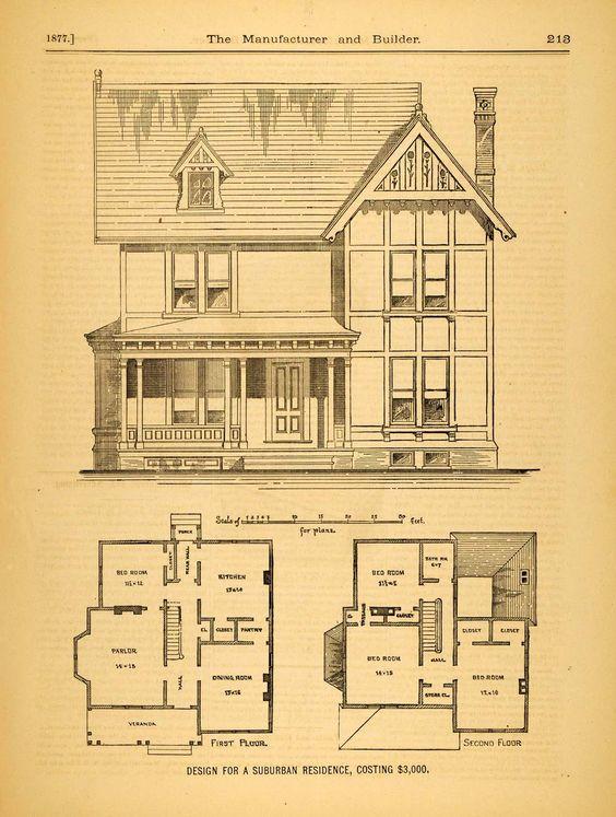 1877 print victorian suburban house c m morgan for Suburban house floor plan