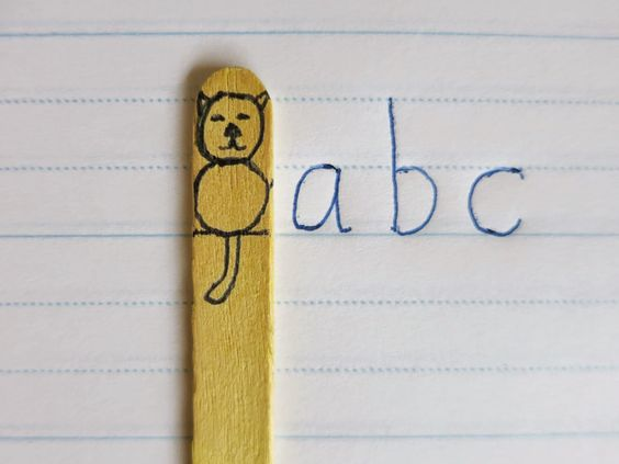 Great way to teach kids how to write on the lines! And later they can use the stick to work on putting spaces between words.