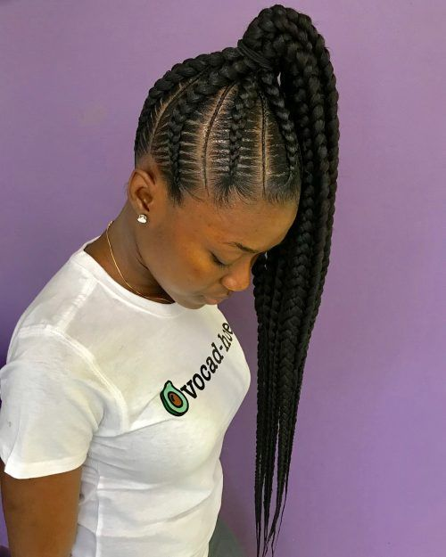 17 Hot Styles Braided Ponytail For Black Hair Feed In Braids Ponytail Feed In Braids Hairstyles Feed In Braid