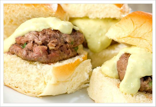 Buffalo Sliders with Avocado Yogurt Sauce - mostly for the sauce